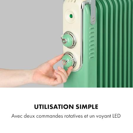 jusqu/à 50 m/² Taupe Look r/étro 4 roulettes voyants LED 3 Vitesses : 1000//1500//2500 Watts KLARSTEIN Thermaxx Retroheat Thermostat radiateur /électrique /à Huile 2 x molettes