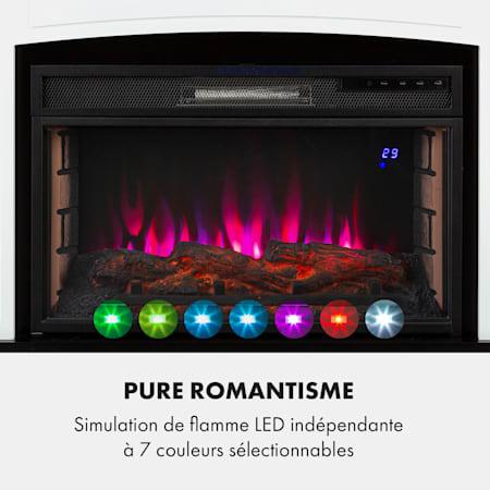 KLARSTEIN Lucerne Smart 40 m/²,Flamme LED:7 Couleurs et 5 Niveaux de luminosit/é,WiFi:contr/ôle par Application,t/él/écommande,Thermostat:18-27 /°C Blanc Chemin/ée /électrique radiateur,1000//2000 W