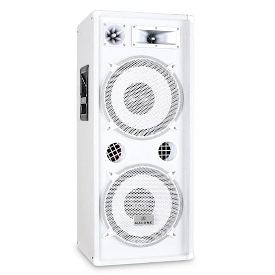 """PW-2222 3 Way DJ PA Speaker 2 x 12"""" (30cm) 1000W - White"""