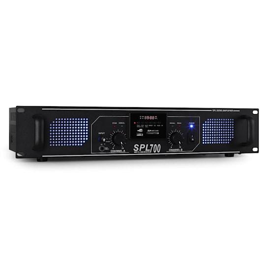 SPL-700-MP3 PA-HiFi-Verstärker 2 x 350W USB-SD-MP3 schwarz