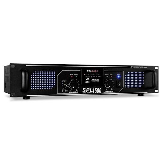 SPL-1500-MP3 DJ PA-Verstärker 2-Kanal Endstufe 2 x 750W USB-SD-MP3