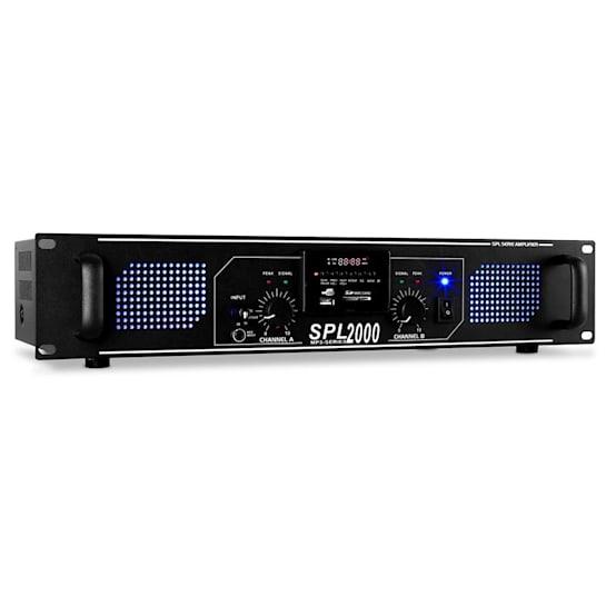 SPL-2000-MP3 DJ PA-Verstärker 2-Kanal Endstufe 2 x 1000W USB-SD-MP3-Player