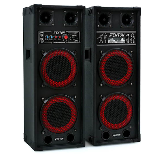 SPB-28 Aktiv Passiv Boxen Set 800W 2x20cm Woofer USB/SD Bluetooth MP3