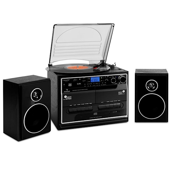 388-BT HiFi CD Stereo System Turntable Cassette Bluetooth USB SD