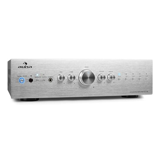 CD708 stereo erősítő, AUX phono, ezüst, 600 W