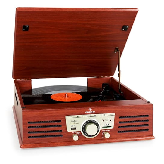 TT-92B Turntable Record Player Built- in Speakers USB SD AUX Wooden Finish