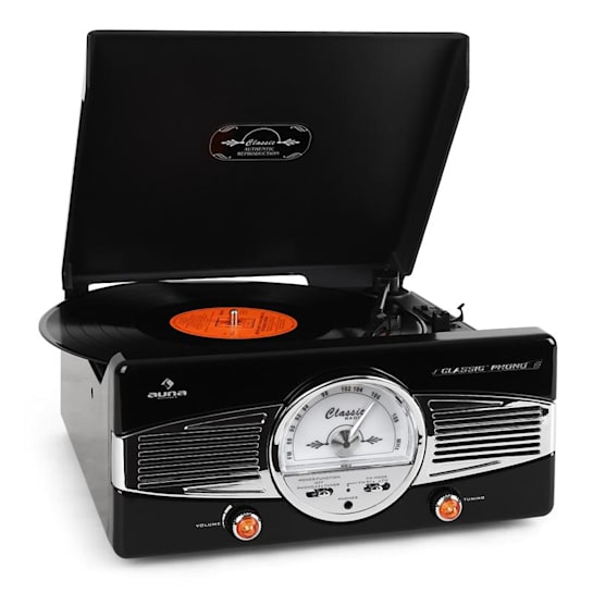 MG-TT-82B Retro '50s Record PlayerTurntable FM Radio Black