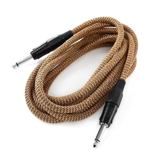 6,35mm-Jack kabel, 3m, mono, textil zlato-černý