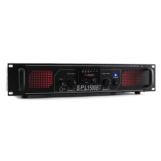 SPL-1500-BT DJ PA-Verstärker 2-Kanal Endstufe 2 x 750W USB-SD-MP3 Bluetooth Equalizer