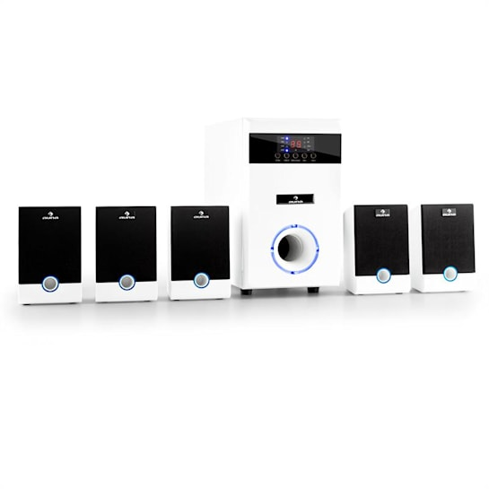 5.1 JW Set Casse Attive Home Theater 95W RMS AUX Bianco