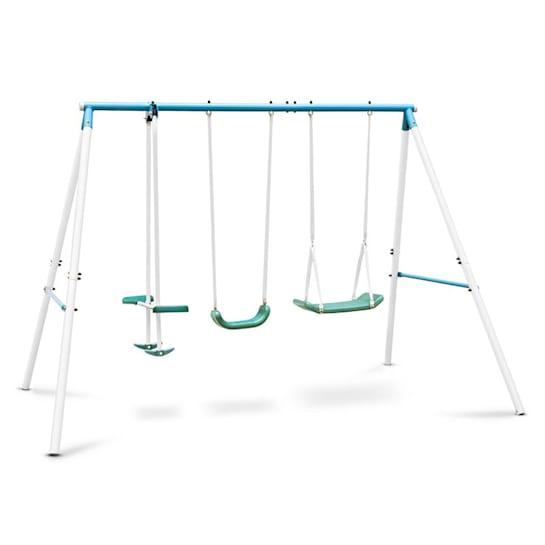 Olav, kék, gyerekhinta acél konstrukcióval, kerti használatra