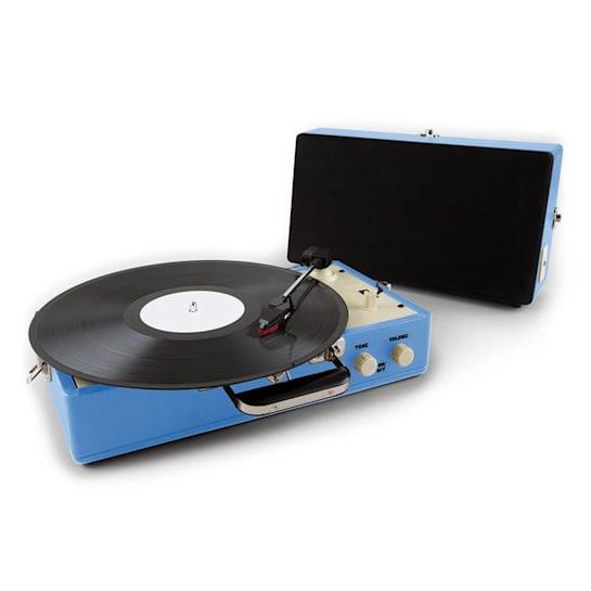 Nostalgy Buckingham, kufříkový retro gramofon, reproduktor, AUX, modrý