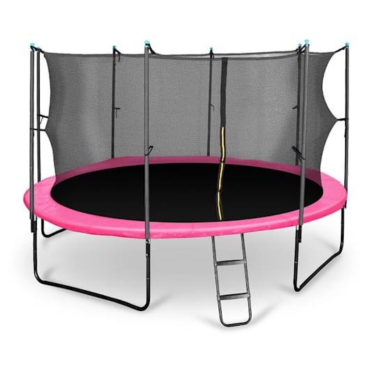 Rocketgirl 430 trampoliini 430 cm turvaverkko, tikkaat, pinkki