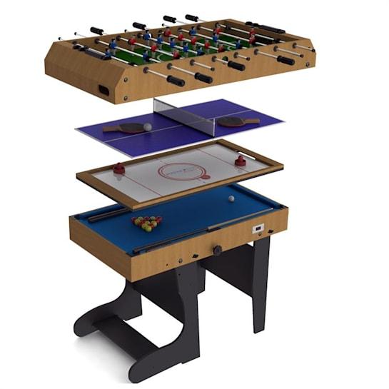 4 in 1, összecsukható játékasztal 11 játékkal, hoki, foci, biliárd