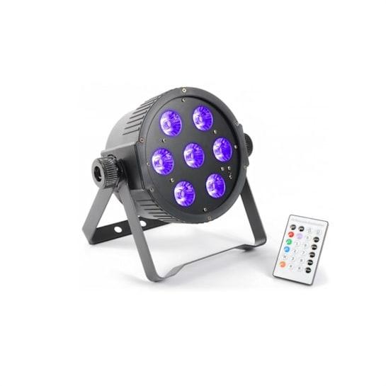 FlatPAR, 7 x 18 W, 6-v-1 hex color RGBAWUV-LED, DMX IR, daljinsko upravljanje