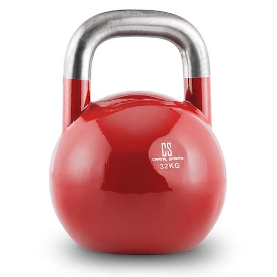 Compket 32, červená činka kettlebell 32 kg, kulové závaží