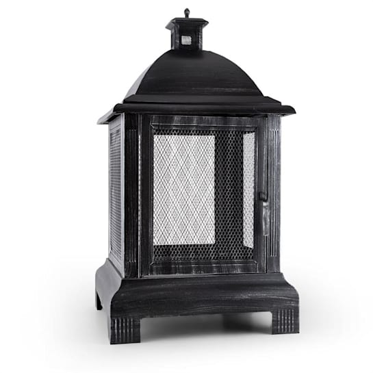 Loreo Burnished Steel Outdoor Lantern Garden Fireplace