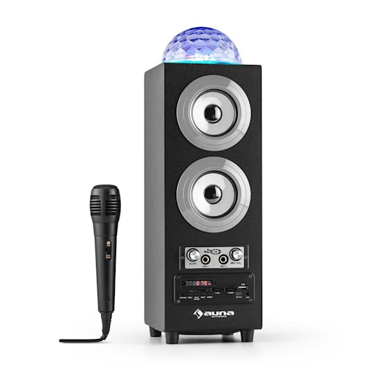 DiscoStar Portable 2.1 Bluetooth Speaker Mic in Jellyball LED USB SD Silver
