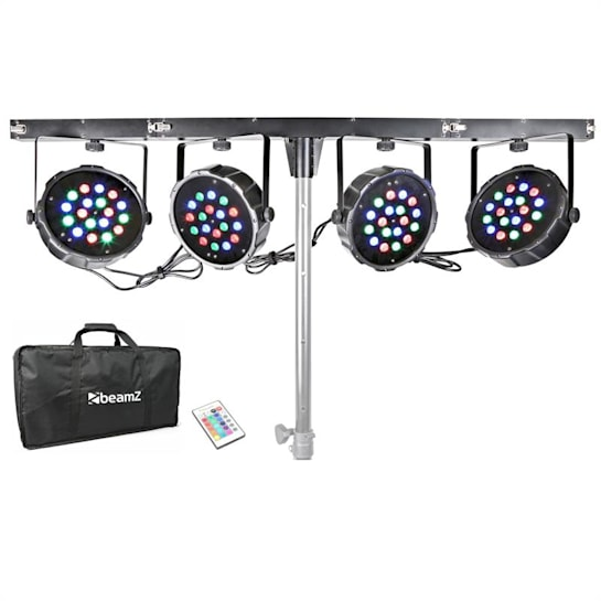 PARBAR Kit 4 Vie 18 x 1W RGB LEDs DMX Traverse-T Borsa di Trasporto