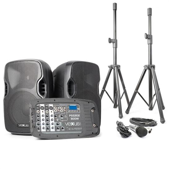 PSS302, prenosný PA audio systém, 300 W max., bluetooth, USB, SD, MP3, 2 x statív, 1 x mikrofón