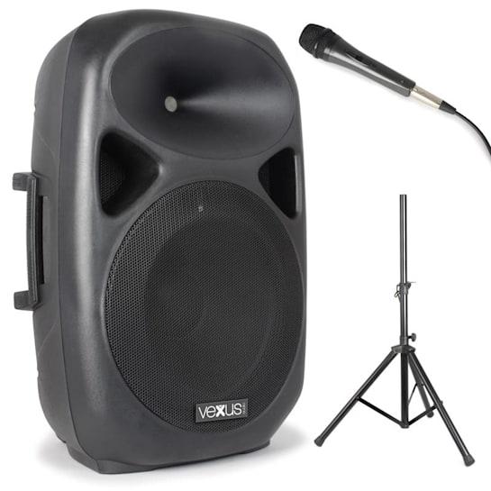 SPS152 PA reproduktorová sada, 600 W max., bluetooth, USB, SD, MP3, AUX, stativ, mikrofon