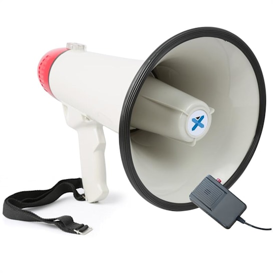 MEG040, megafon, 40 W, funkce nahrávání, siréna, mikrofon, provoz na baterie, popruh