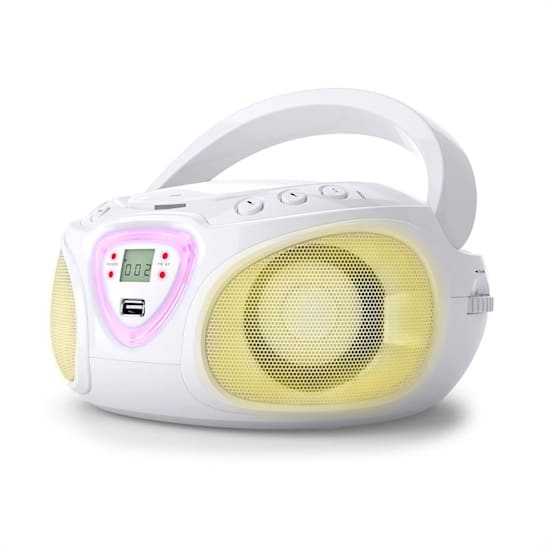 Roadie Boombox CD USB MP3 AM / FM Radio Bluetooth 2.1 LED Colour Play White