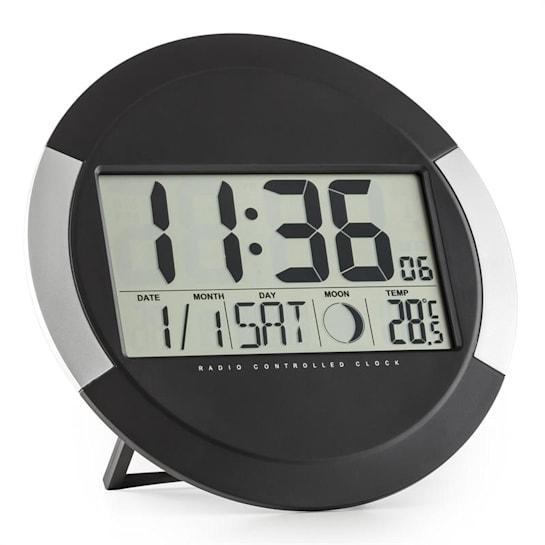 Clockwork, digitální bezdrátové nástěnné hodiny, teploměr, kalendář, fáze měsíce, stojan