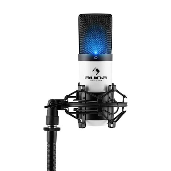 MIC-900-WH LED, fehér, USB, kondenzátoros mikrofon, kardioid, stúdió, LED