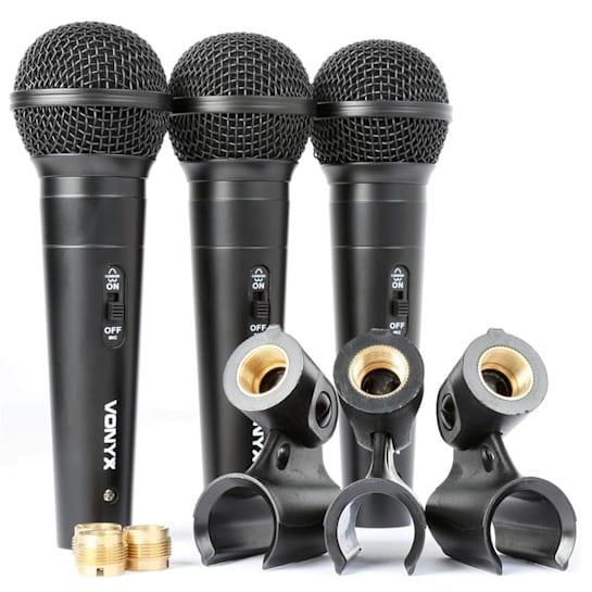VX1800S dynamisches Mikrofon Set XLR 3 Mikrofone + 3 Mikrofonhalterungen