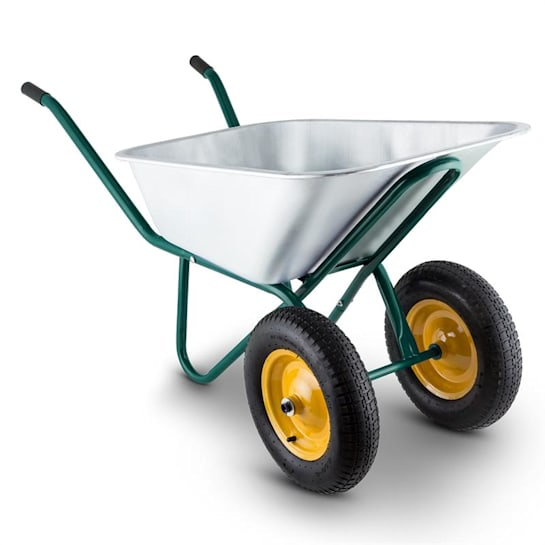 Waldeck Heavyload Wheelbarrow 120l 320kg Garden Cart 2-Wheel Steel Green
