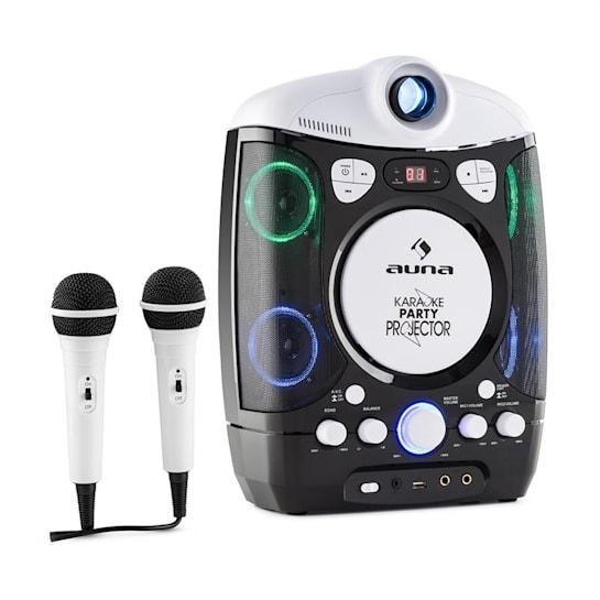 Kara Projectura Karaokemaschine mit Projektor LED-Lichtshow schwarz-grau