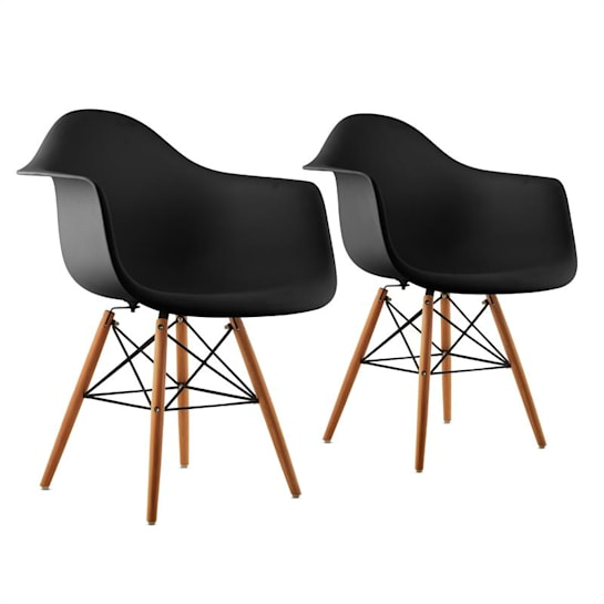 Bellagio, čierna, škrupinová stolička, sada 2 kusov, retro, PP sedadlo, brezové drevo