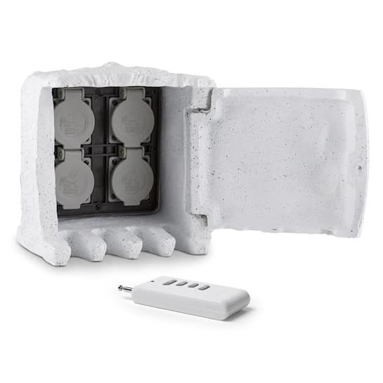 POWER ROCK, priza de gradina gri deschis,4-partitii ,cablu5 mcontrol de la distanță, piatra