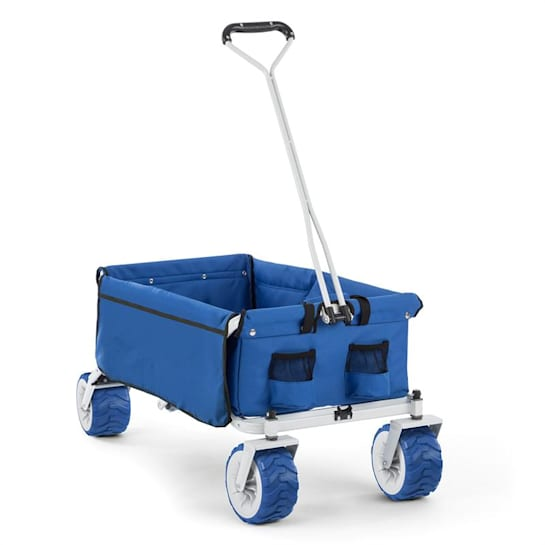 The Blue Hand Cart Hand Wagon Foldable 70 kg 90l Wheels 10cm Blue