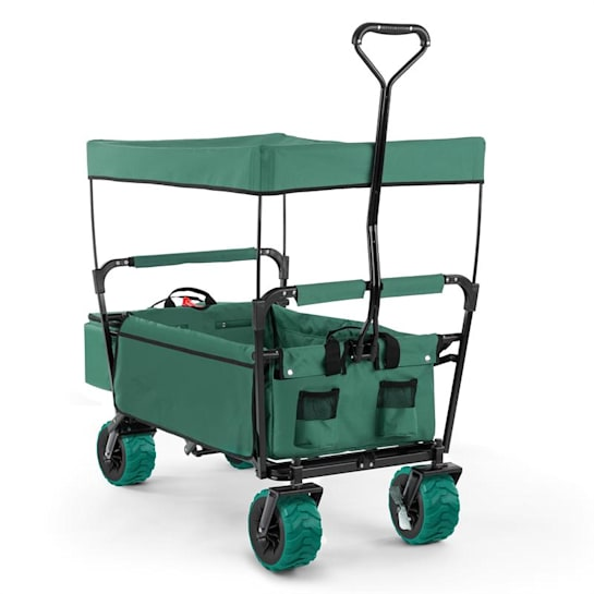 The Green Supreme Hand Cart Hand Wagon 68 kg Sun Awning