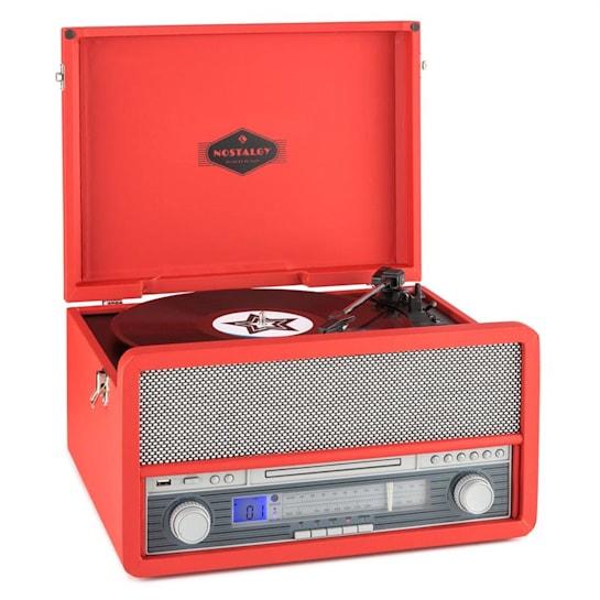Belle Epoque 1907 Retro-Audiosystem Plattenspieler Bluetooth MC USB CD AUX