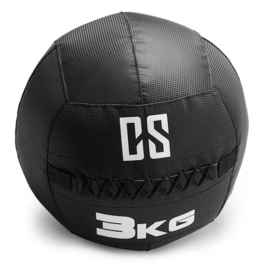 Bravor Wall Ball medicinbal PVC dvojité švy 3kg čierna farba