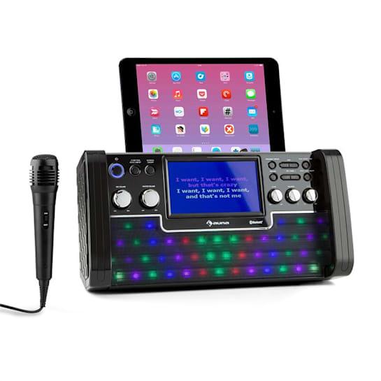 "DiscoFever bluetooth karaoke-installatie LED 7"" TFT-screen CD USB zwart"