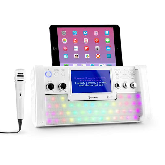 "DiscoFever LED Bluetooth-Karaokeanlage LED 7"" TFT-Screen CD USB weiss"