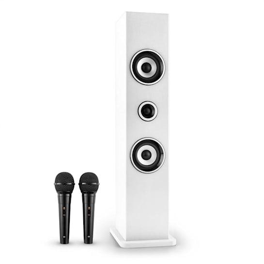 Karaboom Altavoz con Bluetooth USB AUX Karaoke 2 x micrófonos blanco