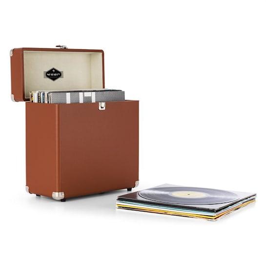 TTS6, barna, lemeztartó koffer, bőr, nosztalgikus, 30 LP lemez