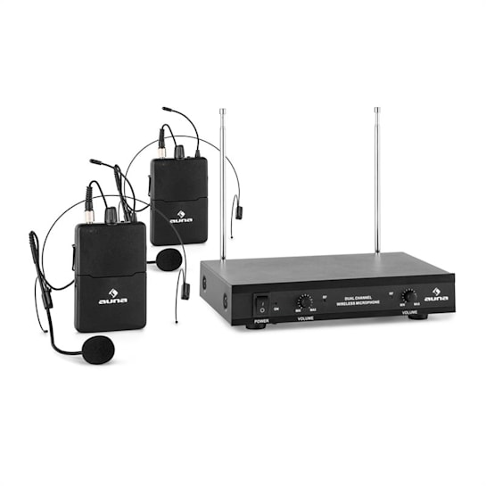 VHF-2-HS 2-Channel VHF Wireless Microphone Set 2 x Headset 50m