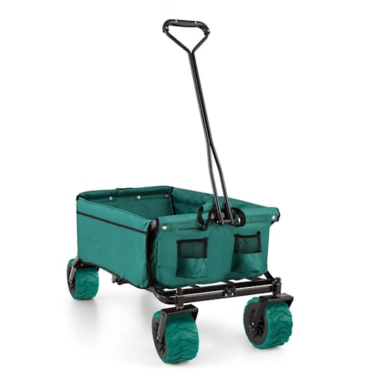 The Green Hand Cart Wagon Trolley Foldable 70kg 90l Wide Wheels 10cm Green