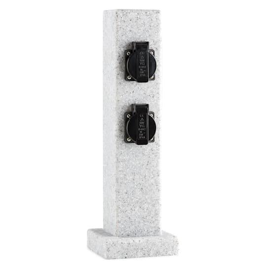 Granite Power, sloup s elektrickými zásuvkami, 4 zásuvky, 3500 W, PE vzhled kamene