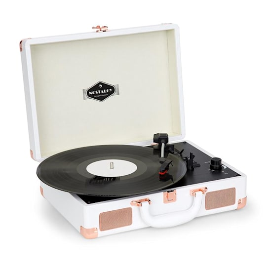 Nostalgy by auna Peggy Sue Retro Record Player LP USB AUX White / Rose Gold Look