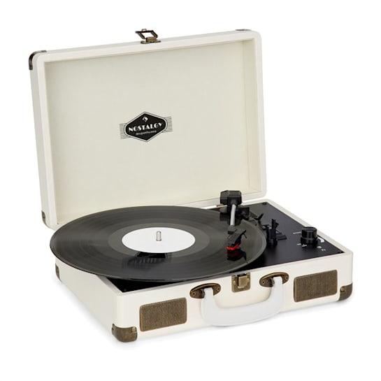 Nostalgy by auna Peggy Sue Retro Record Player LP USB AUX Cream/Brass Look