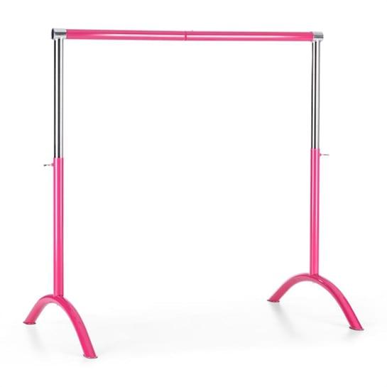 Bar Lerina, ružová, baletná tyč, 110x113 cm, prenosná, výškovo nastaviteľná, oceľ