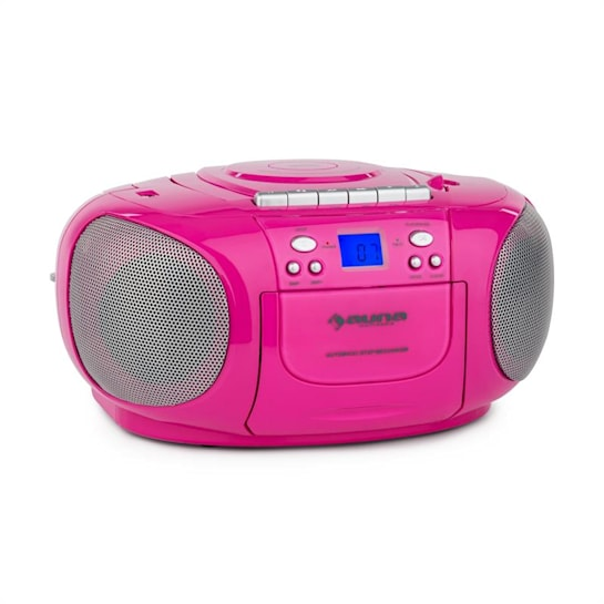 BoomGirl BoomBox Ghettoblaster Radio CD/MP3-Player Kassettbandspelare Rosa