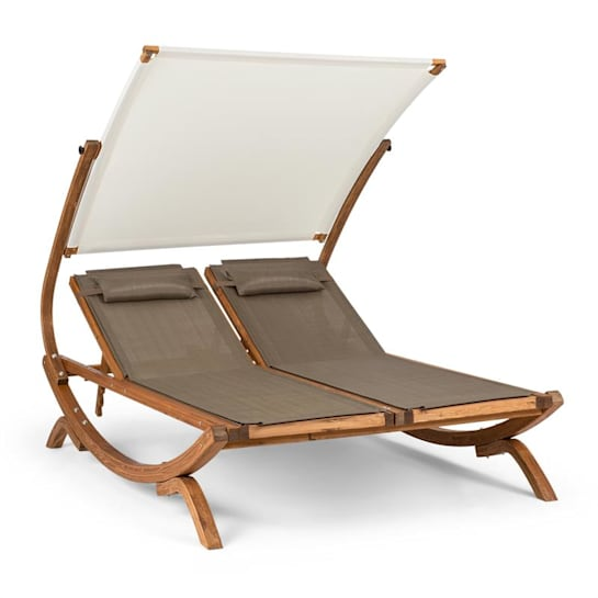 Sonnendeck, dvojité lehátko, nastavitelná stříška proti slunci, polštáře, bílé